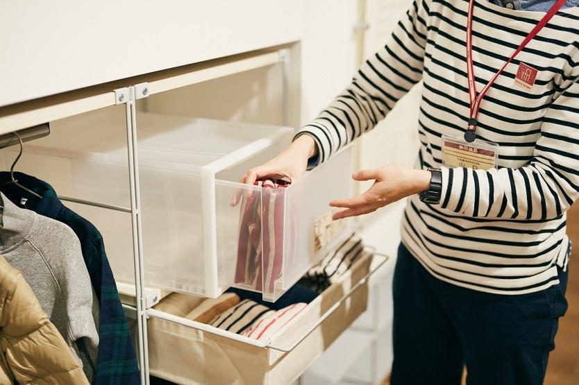 高さが変えられる不織布仕切ケースは収納に便利