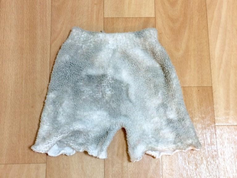 ジェラピケ風毛糸のパンツ雑巾で拭き取る