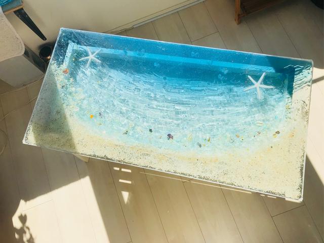 センターテーブル ブルームーンビーチ 波打ち際のシェルやスターフィッシュ minamo
