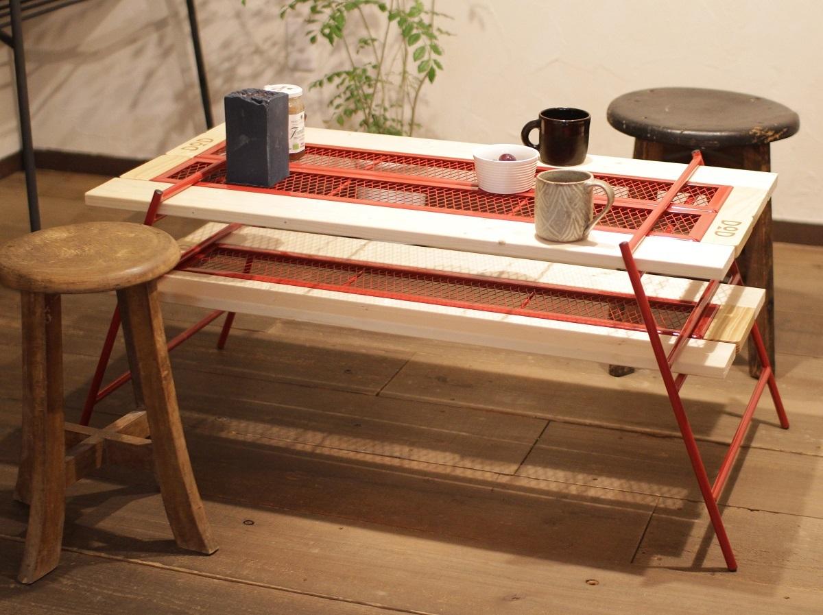 このカンタン組み立てテーブル、急な来客にも対応できますよ〜|アウトドアな家暮らし