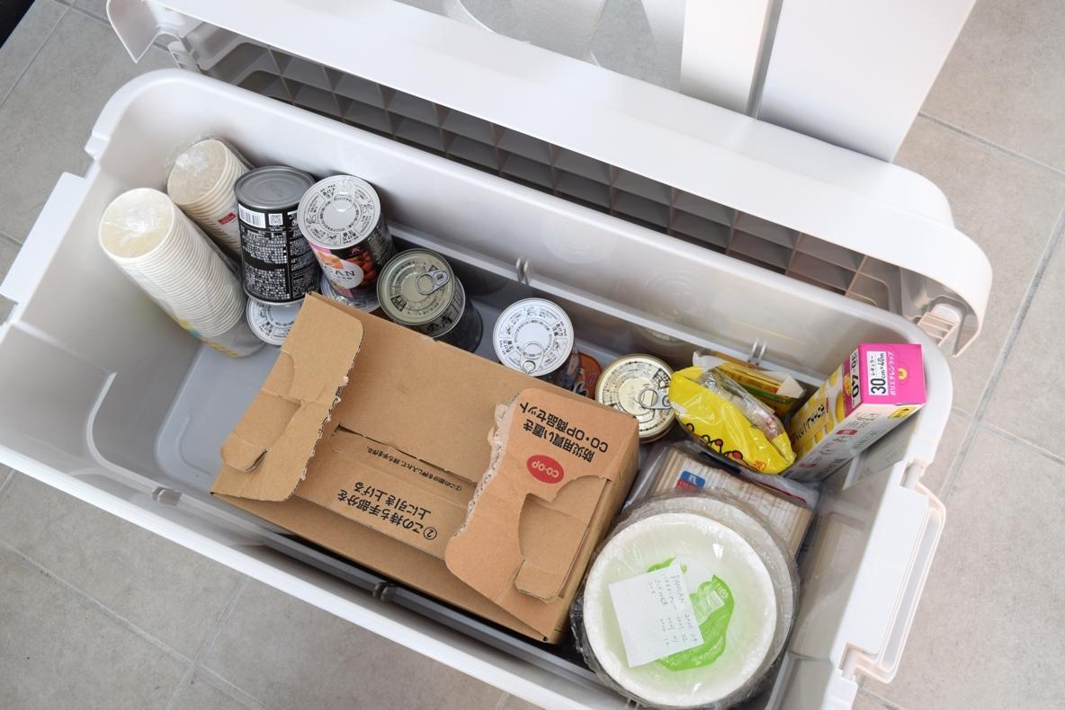 無印良品のポリプロピレン頑丈収納ボックスに防災用品を収納したイメージ