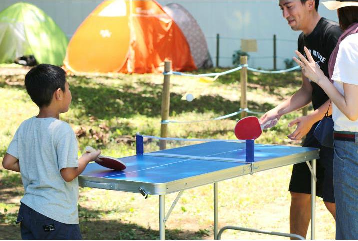 キャンプで使える卓球台!? 普通のテーブルとしても使えるみたいよ