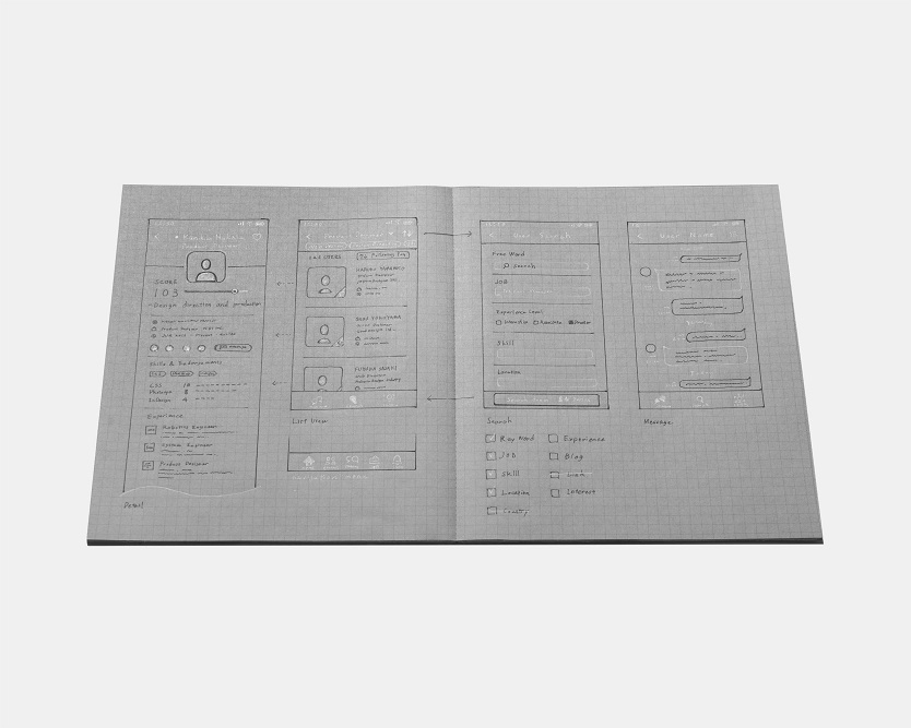 コクヨ「白と黒で書くノート」開いた画像