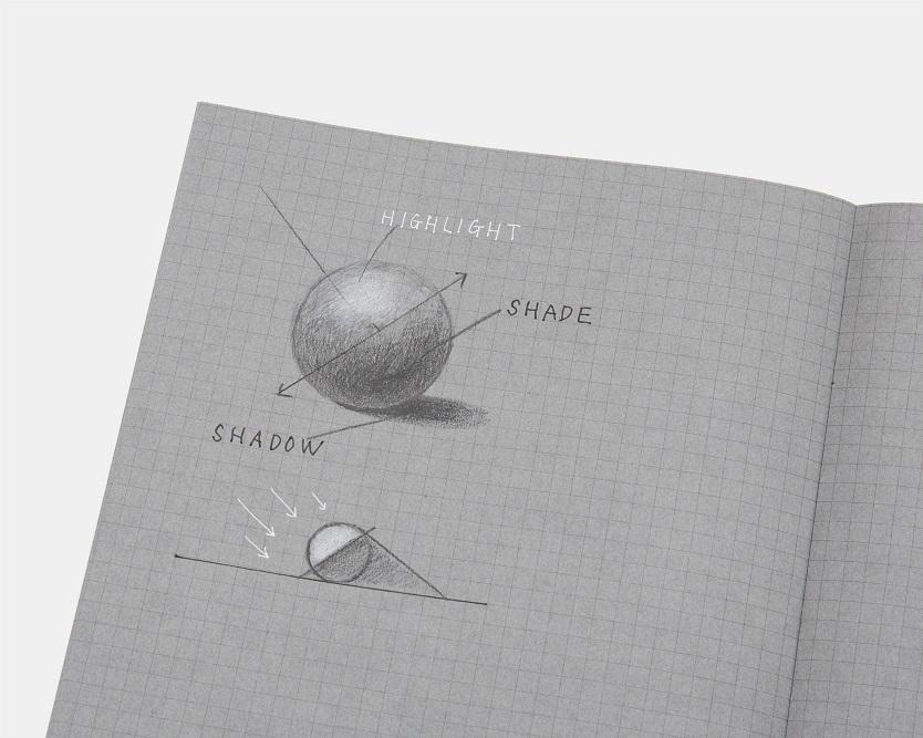 コクヨ「白と黒で書くノート」に図形を描いた