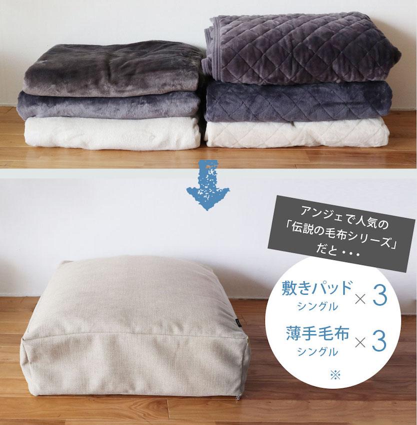 bon moment(ボンモマン)リビングクッションになる掛け布団ケースの中に敷きパッドと薄手の毛布を入れる