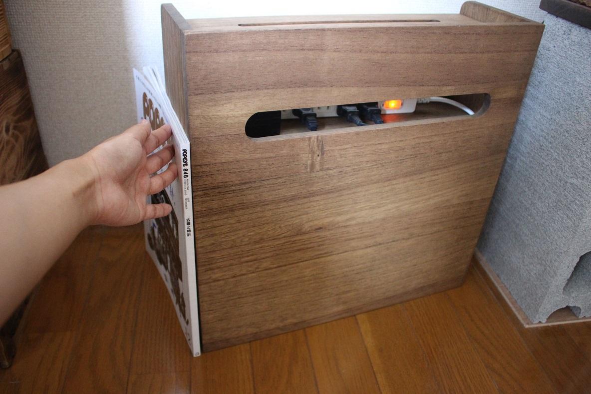 KIRIGEN 「総桐ルーター収納ボックス」の大きさを雑誌と比較