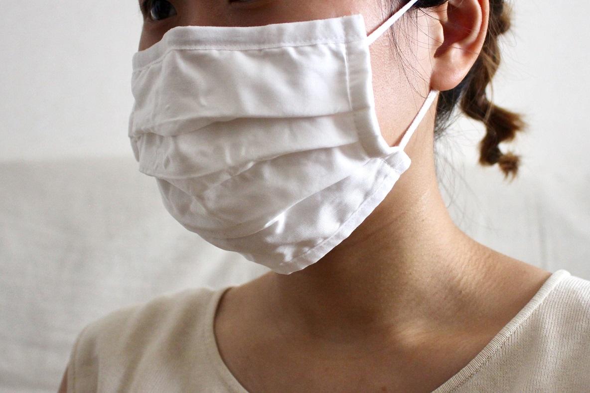 無印良品「繰り返し 使える 2枚組・三層マスク」装着