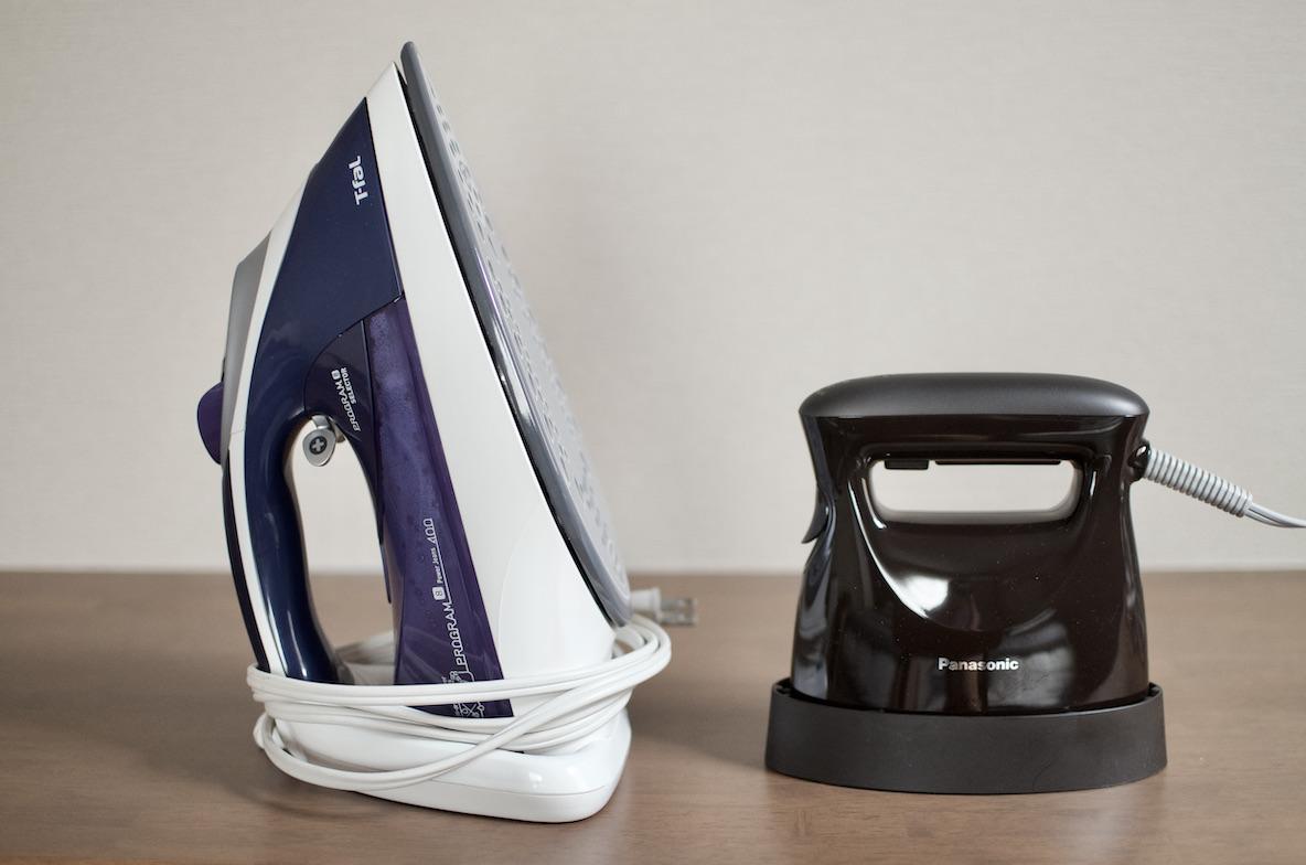 家でもともと使っていたアイロンとPanasonicの衣類スチーマー