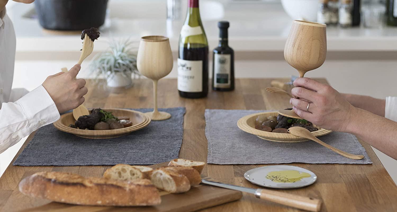 おしゃれな木製ワイングラス