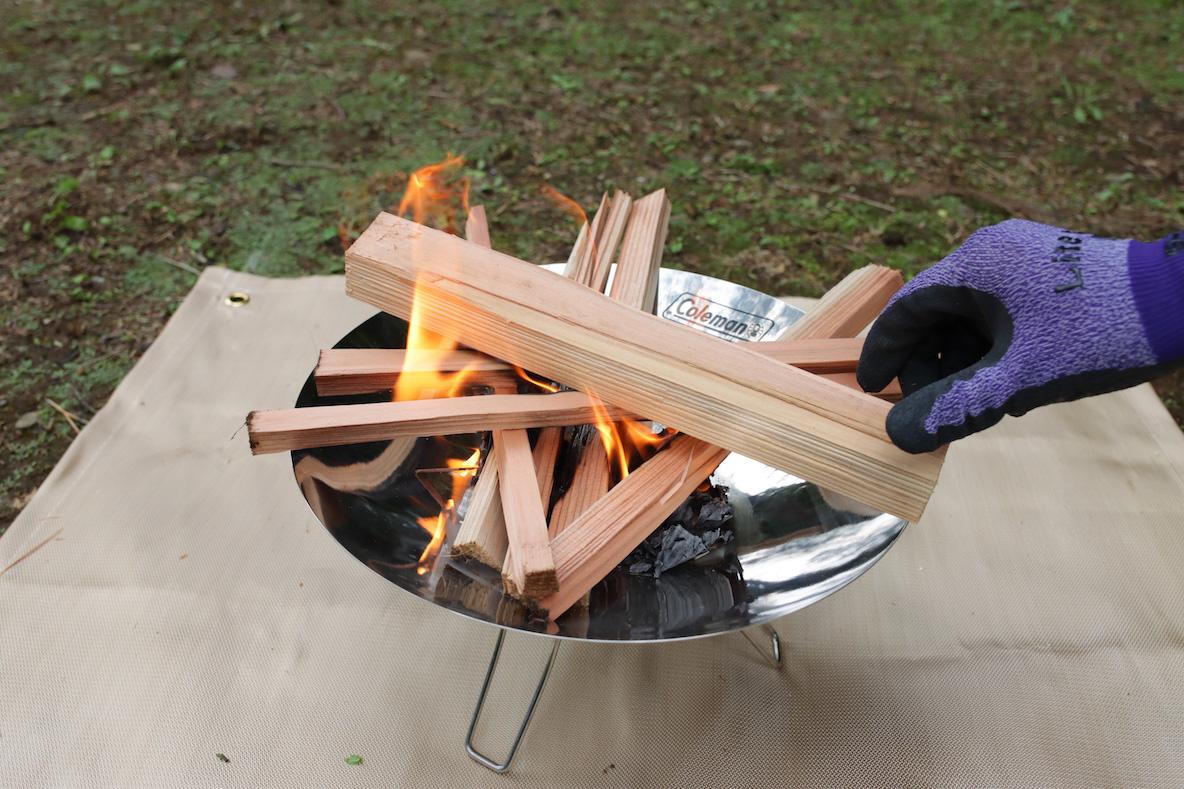コールマン 「ファイアーディスクソロ」で行う焚き火