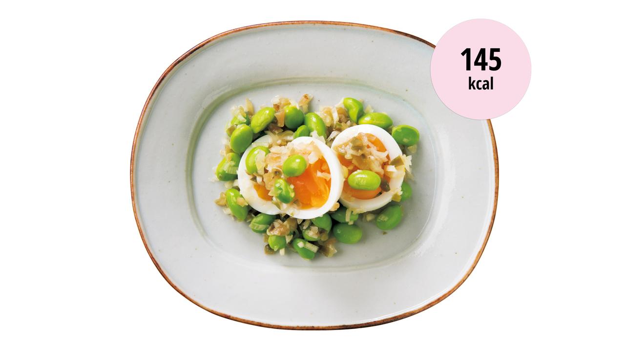 9. 茹で卵と枝豆のザーサイ和え