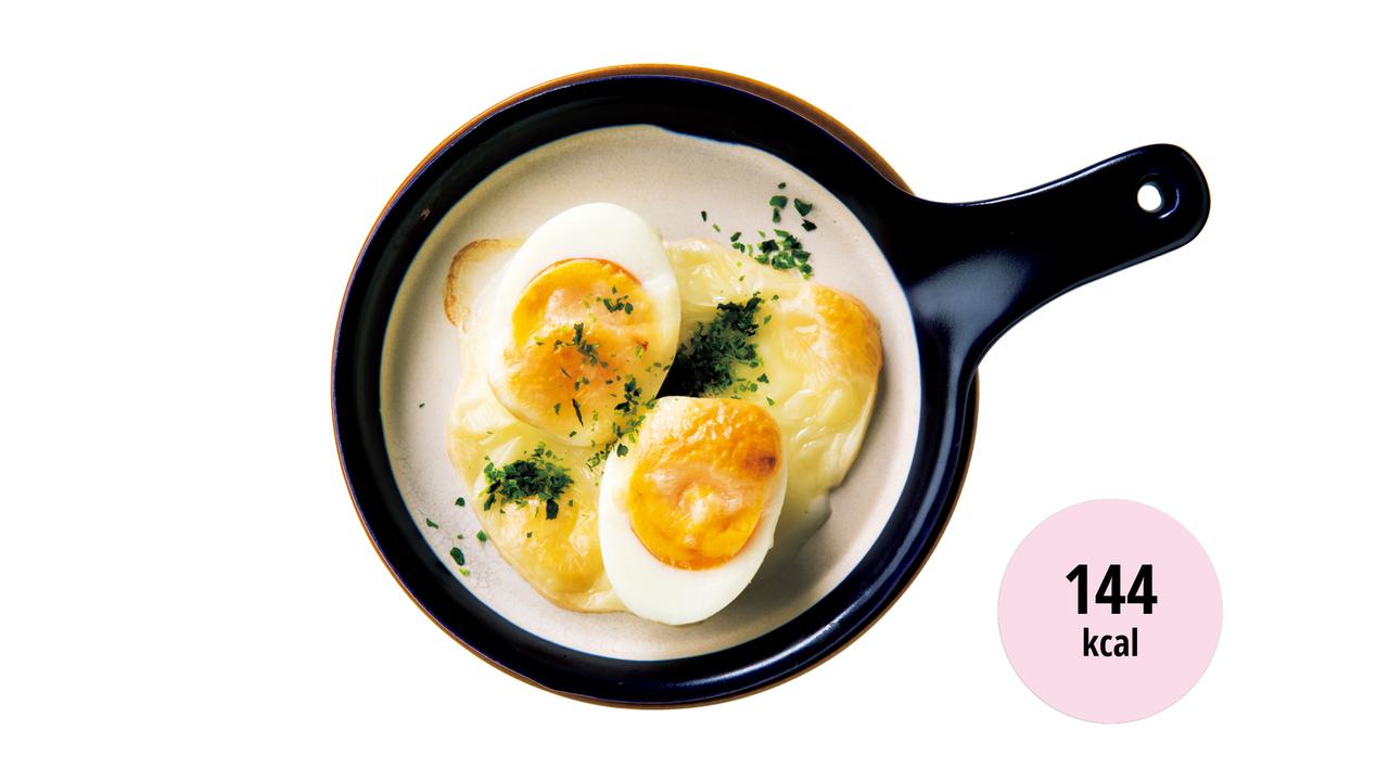 10. 茹で卵のチーズ焼き