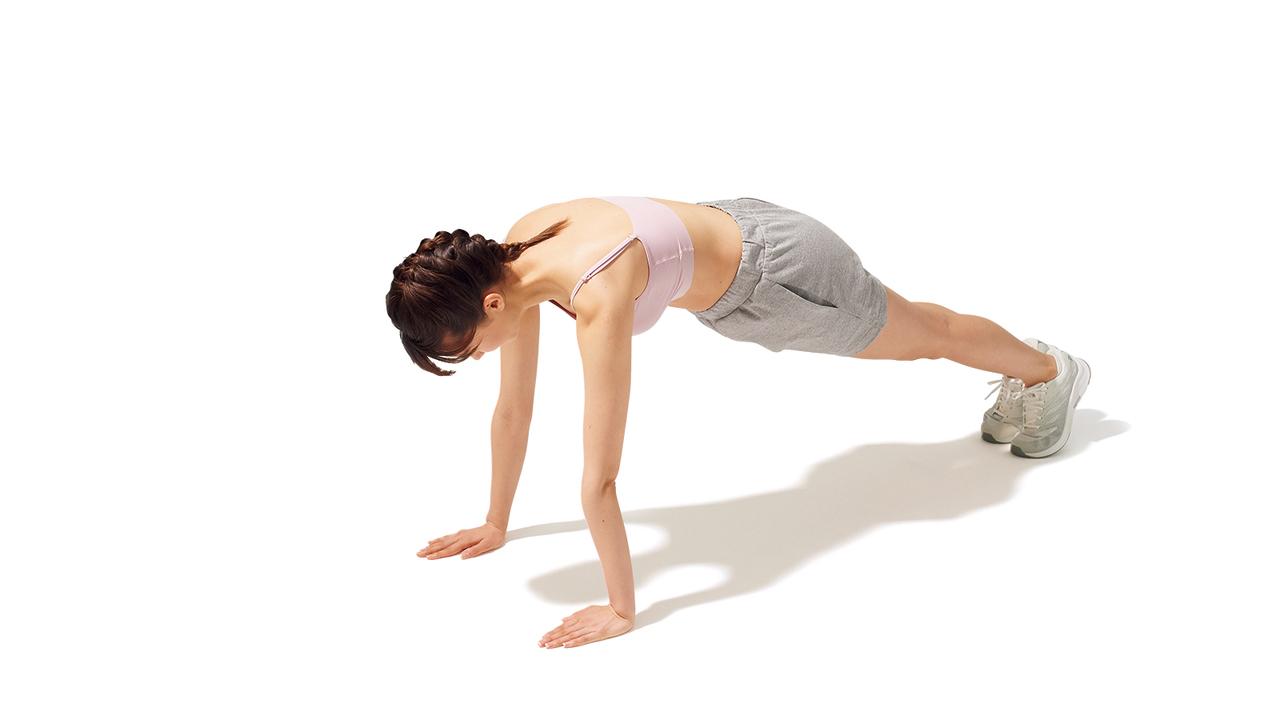 肩甲骨周辺のトレーニング「スキャプラ・プッシュアップ」の動作その1