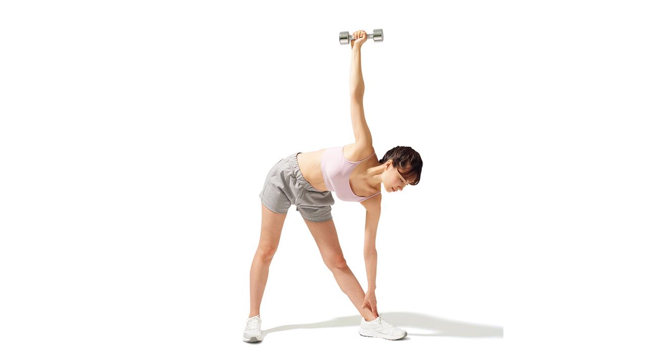 骨盤周辺のトレーニング「ダンベル・ウィンドミル」の動作その2