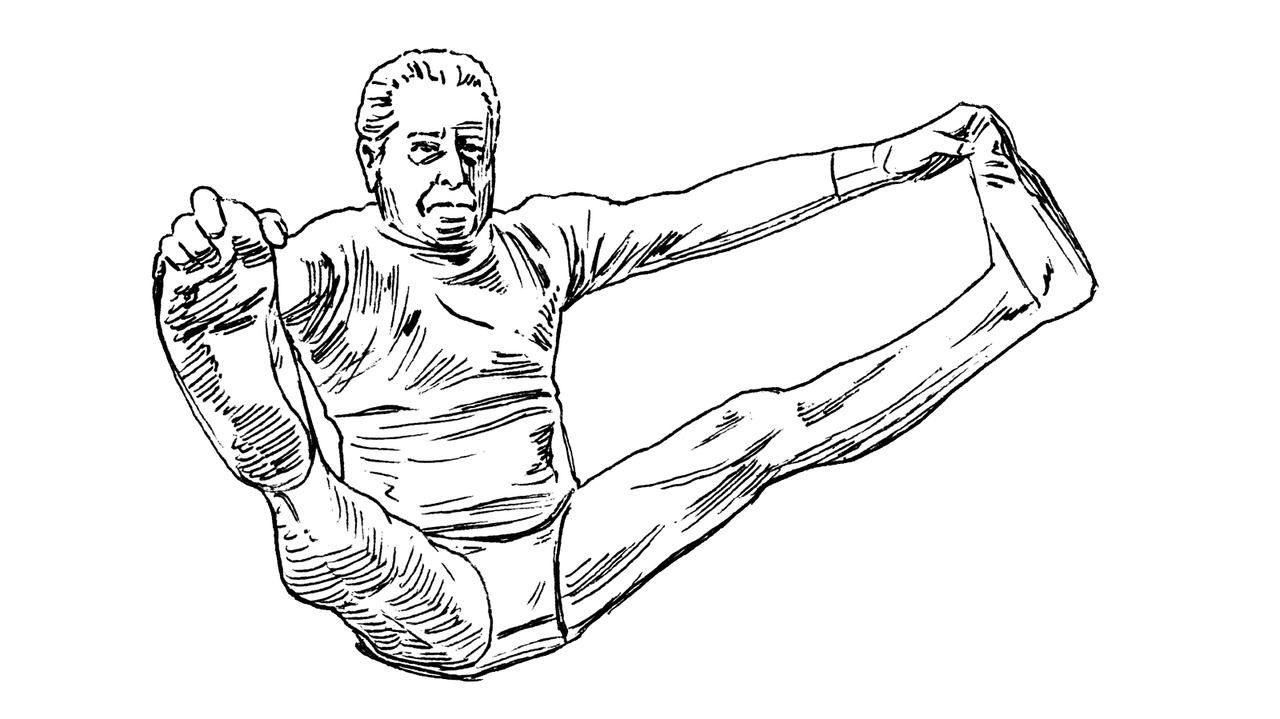 ピラティスの考案者、ジョセフ・H・ピラティス氏のイラスト。