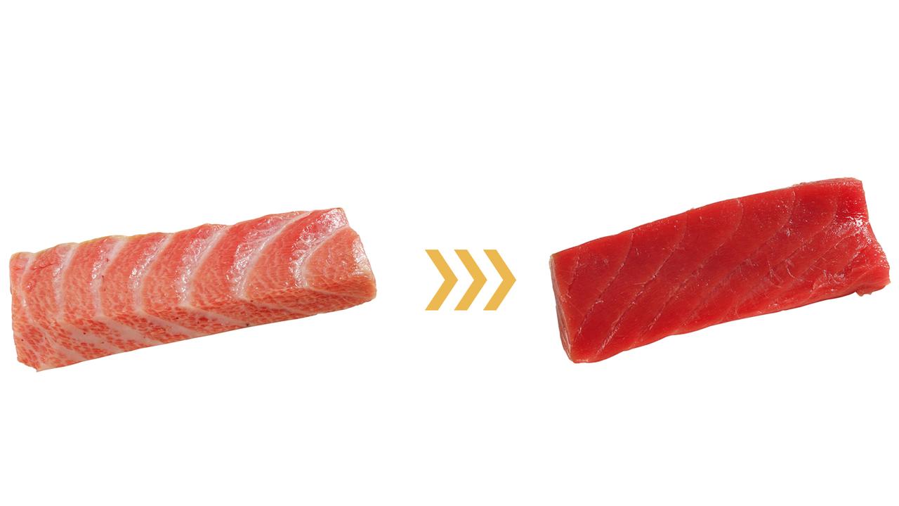 (左)【トロ = 27.5g】を(右)【赤身 = 1.4g】に変えると26.1gカット!