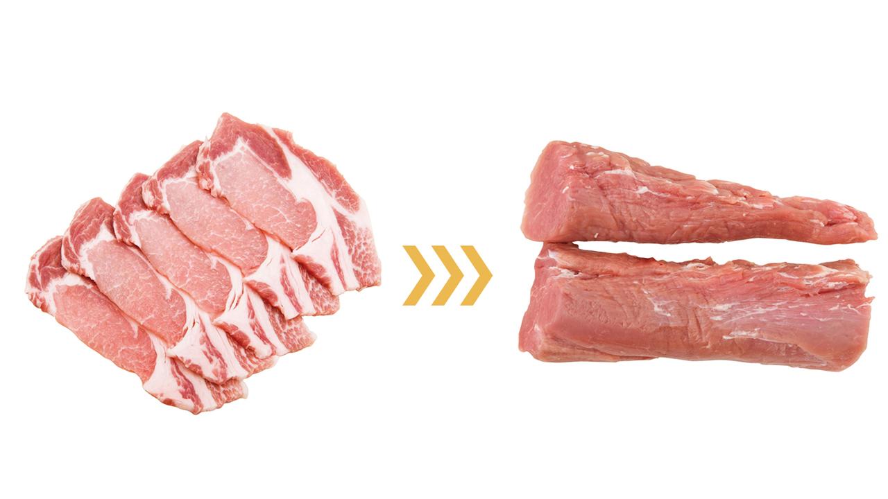 (左)【豚バラ = 35.4g】を(右)【豚ヒレ = 3.7g】に変えると31.7gカット!