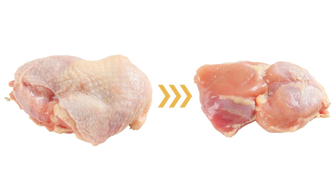 (左)【鶏もも肉皮アリ = 35g】を(右)【鶏もも肉皮ナシ = 7.8g】に変えると27.2gカット!