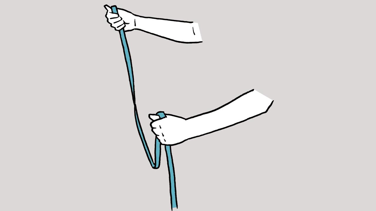 左手でリードの真ん中あたりを、杖を持つように握る。