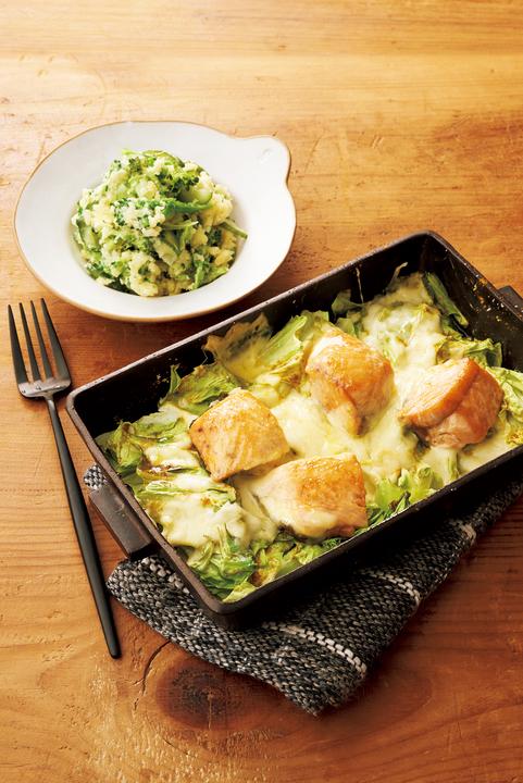 「鮭とキャベツのチーズ焼き」と「つぶしブロッコリー入りポテサラ」