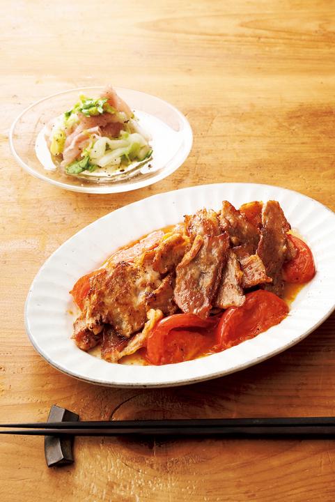 「豚の花椒カリカリ焼き」と「白菜とバジル、生ハムのサラダ」