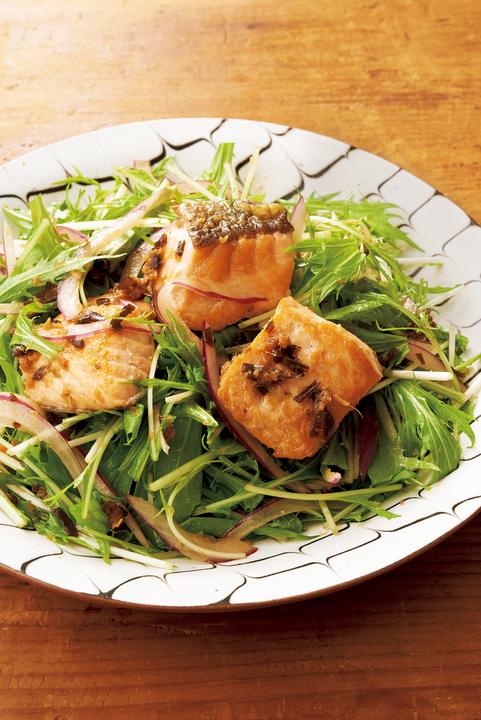 鮭と水菜のサラダ仕立て