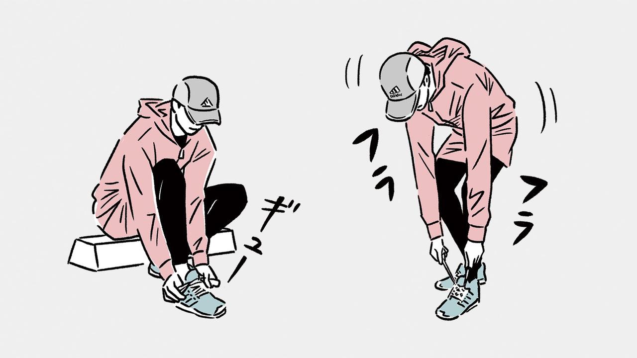 シューズを履くときは座ってしっかりと踵を合わせ、毎回シューレースを結び直すのがベター。
