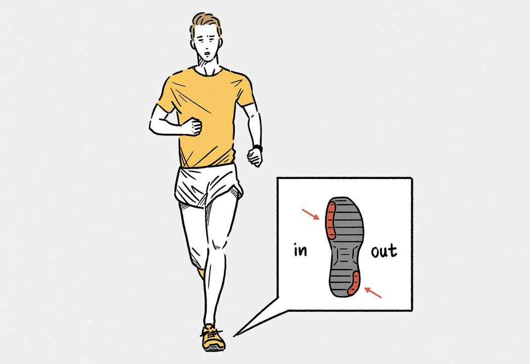 日本人に多いといわれるオーバープロネーション(地面を蹴るときに足が過度に内側に倒れる)のランナーは、踵の外側、前足部の内側が削れやすいといわれている。