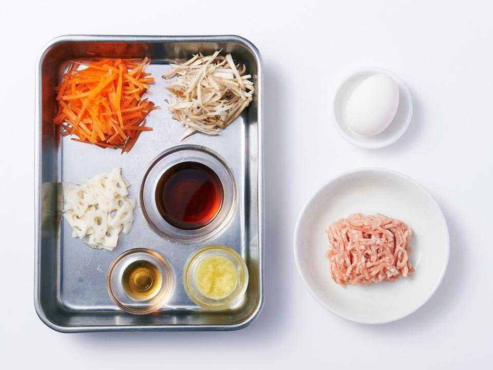 ふんわり卵のきんぴらご飯の食材