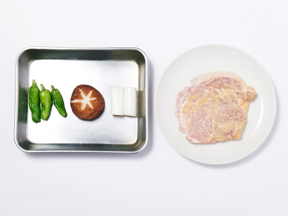 豚肉の味噌漬けプレートの食材