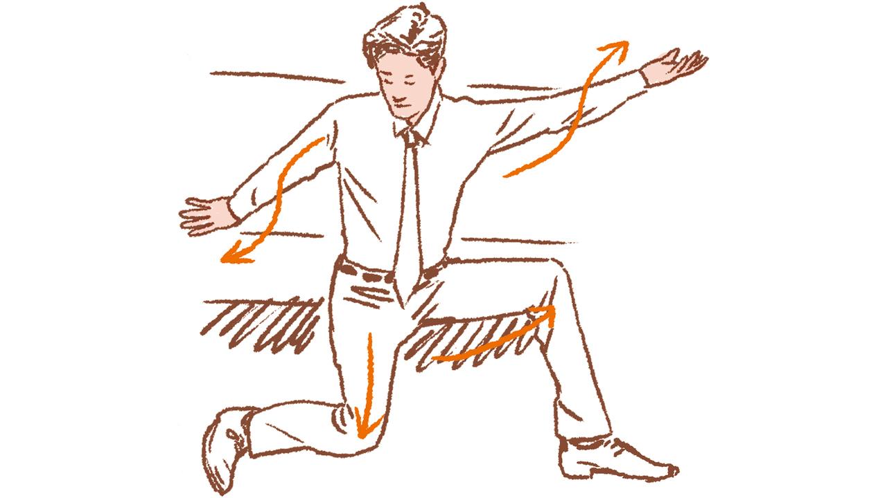 1. 腕と脚を内に外に捻る