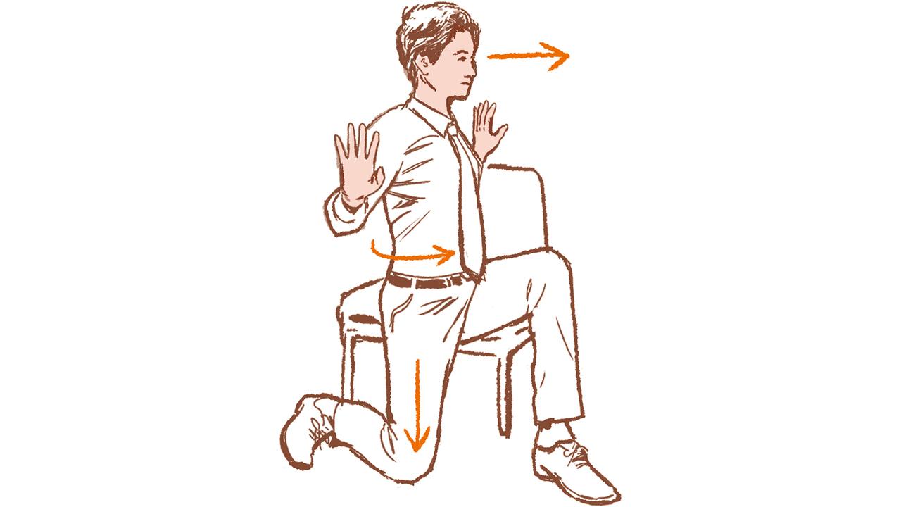 3. 離れた肩甲骨の引き寄せ(5〜10回)