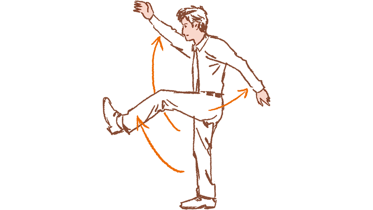 2. 腕と脚を大きくスイング(左右各5〜10回)