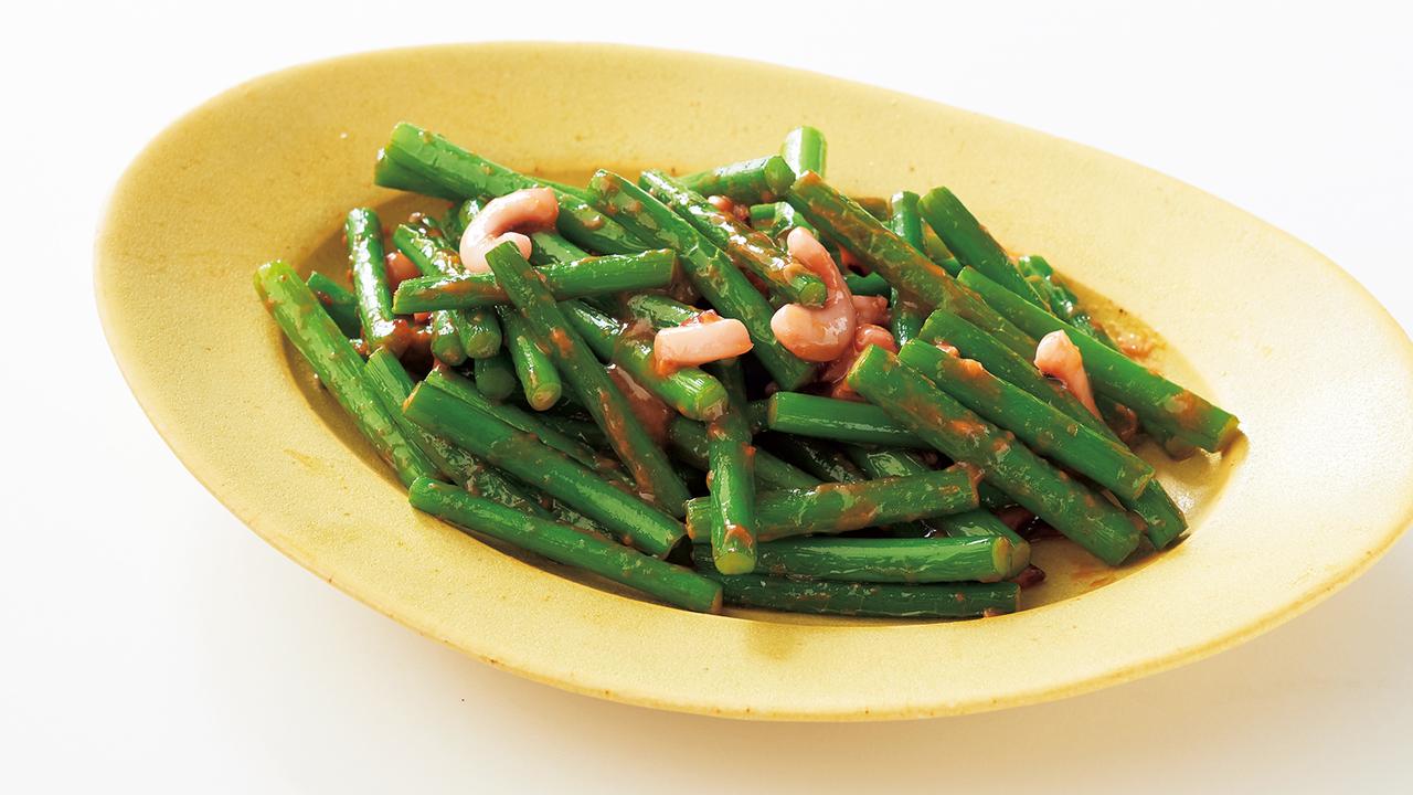 3. ニンニクの茎の塩辛炒め