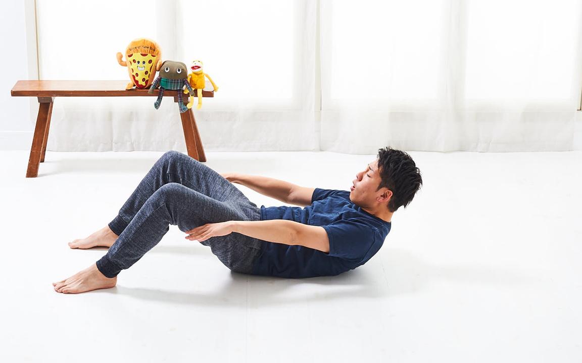 「腹直筋」の寝っ転がりながらトレ。Basicレベル動作2