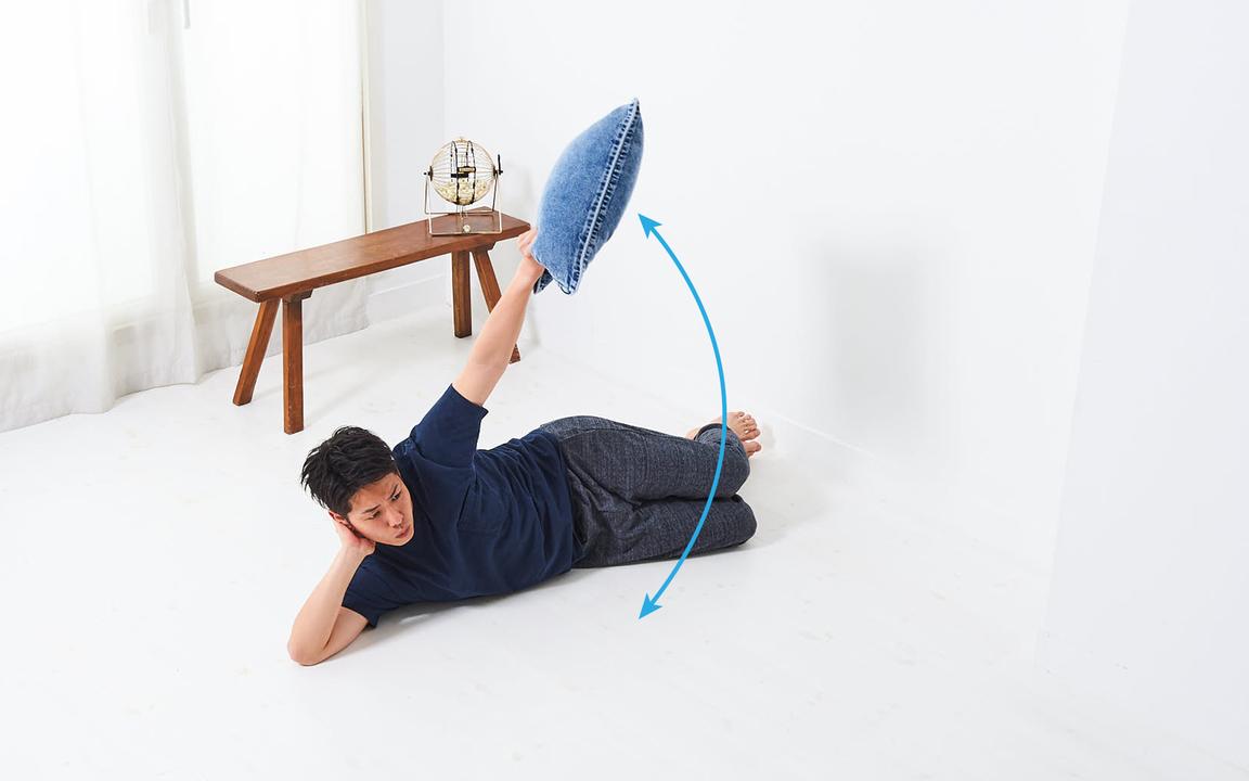 肩の筋肉を鍛える「寝っころがりながらトレ」Basic動作2