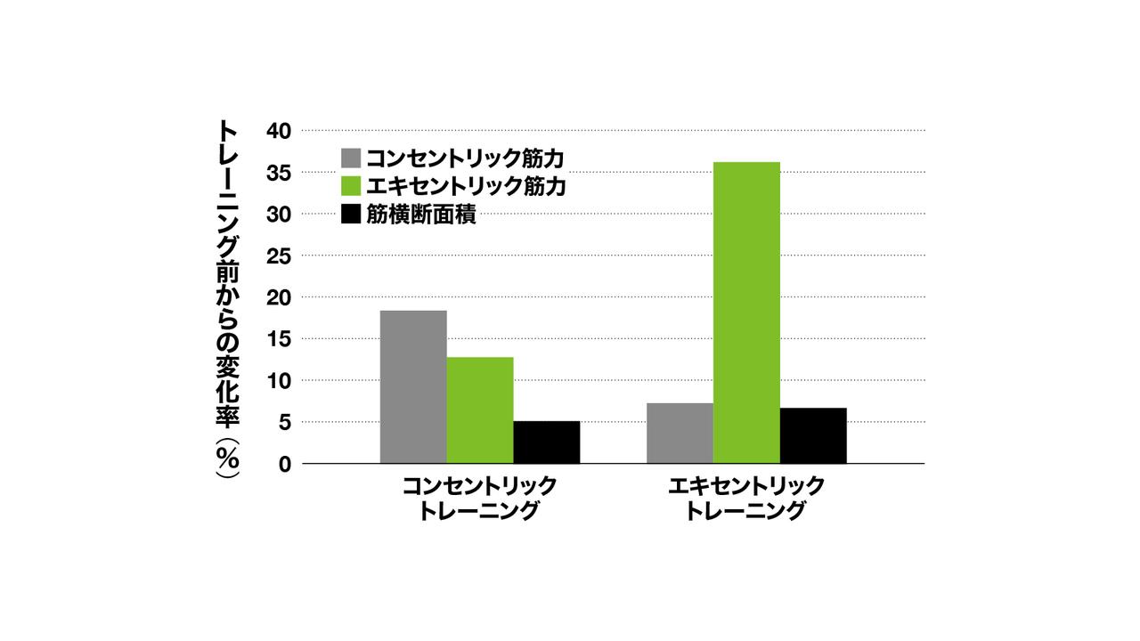 筋力増加、筋肥大はコンセンよりもエキセンで大きい
