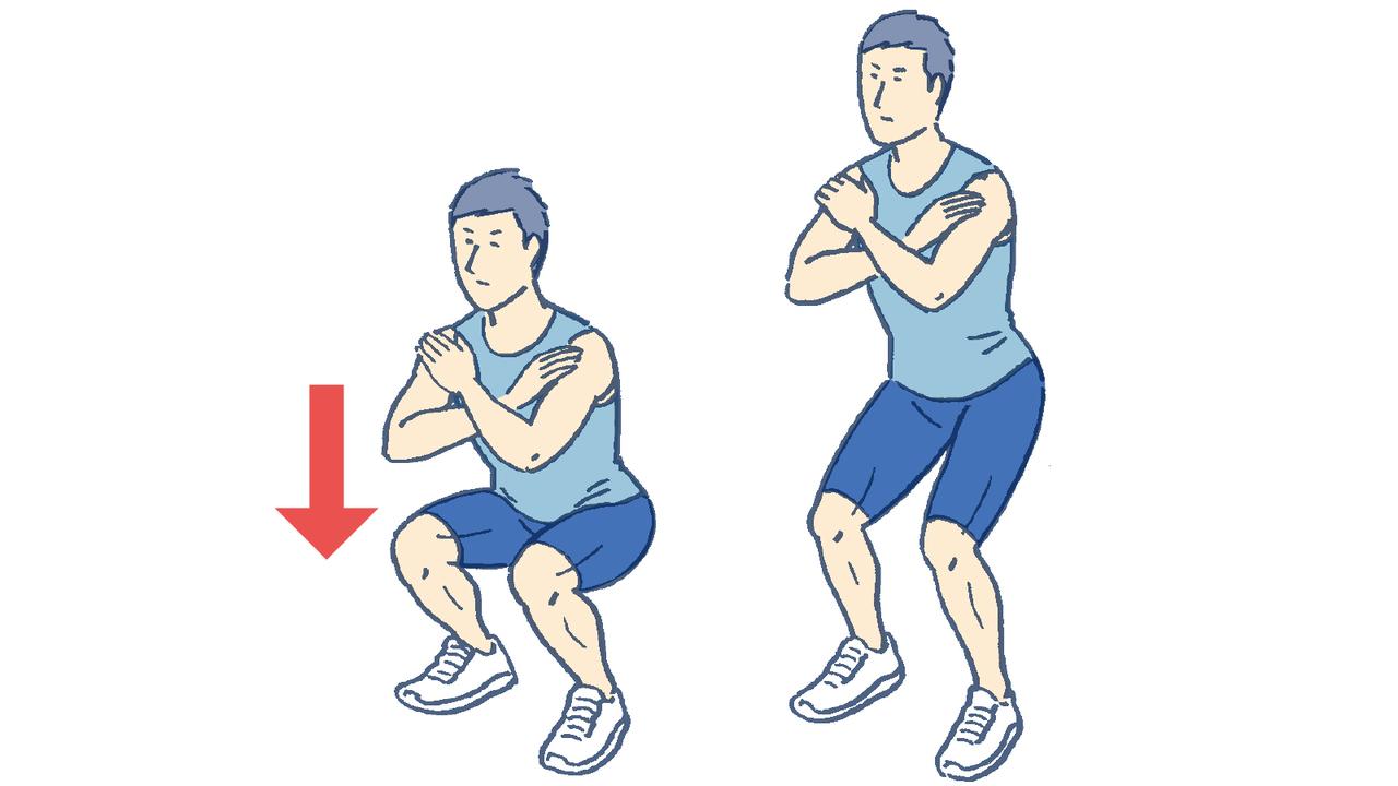 スクワットで膝を曲げて腰を落としていく動きがエキセン筋トレ