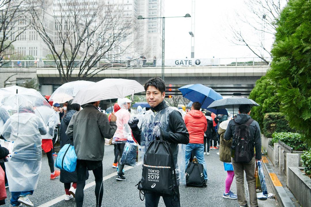 東京マラソン2019、出走前の『ターザン』編集部員ムラタの様子