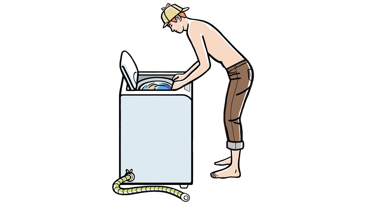 洗濯物、このくらいで7割かな。そのつど、量をしっかり確認。