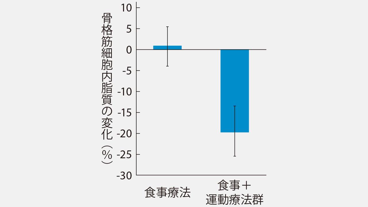 【グラフ】2週間でも運動を行えば、細胞の中の脂肪は減らせる