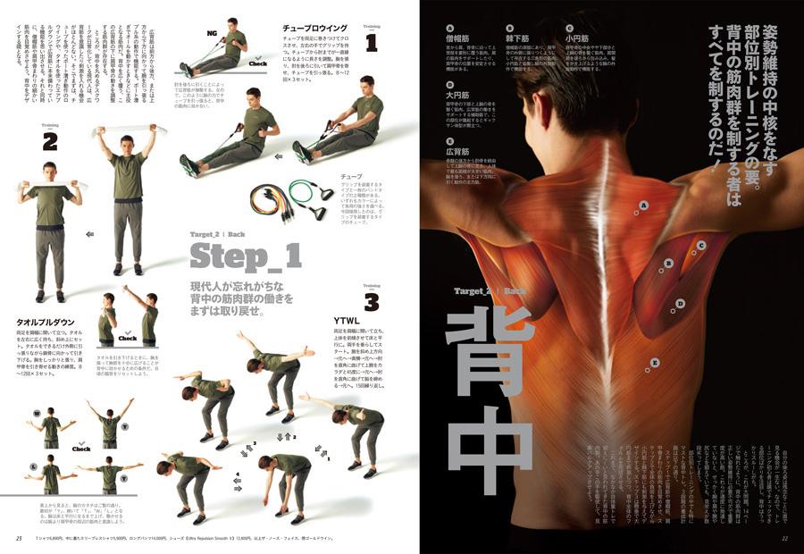 誌面では部位ごとに鍛える筋肉をしっかりと解説! 例えば背中なら、僧帽筋、棘下筋、小円筋、大円筋、広背筋。しっかりと動かす筋肉を意識することから始めよう。
