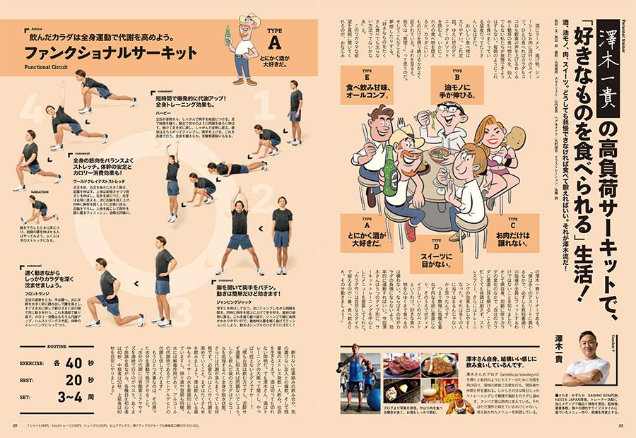 澤木一貴さんが指導するセッションは「高負荷サーキットで、『好きなものを食べられる』生活!」。酒、油モノ、肉、スイーツ。どうしても我慢できなければ食べて鍛えればいい。それが澤木流だ!