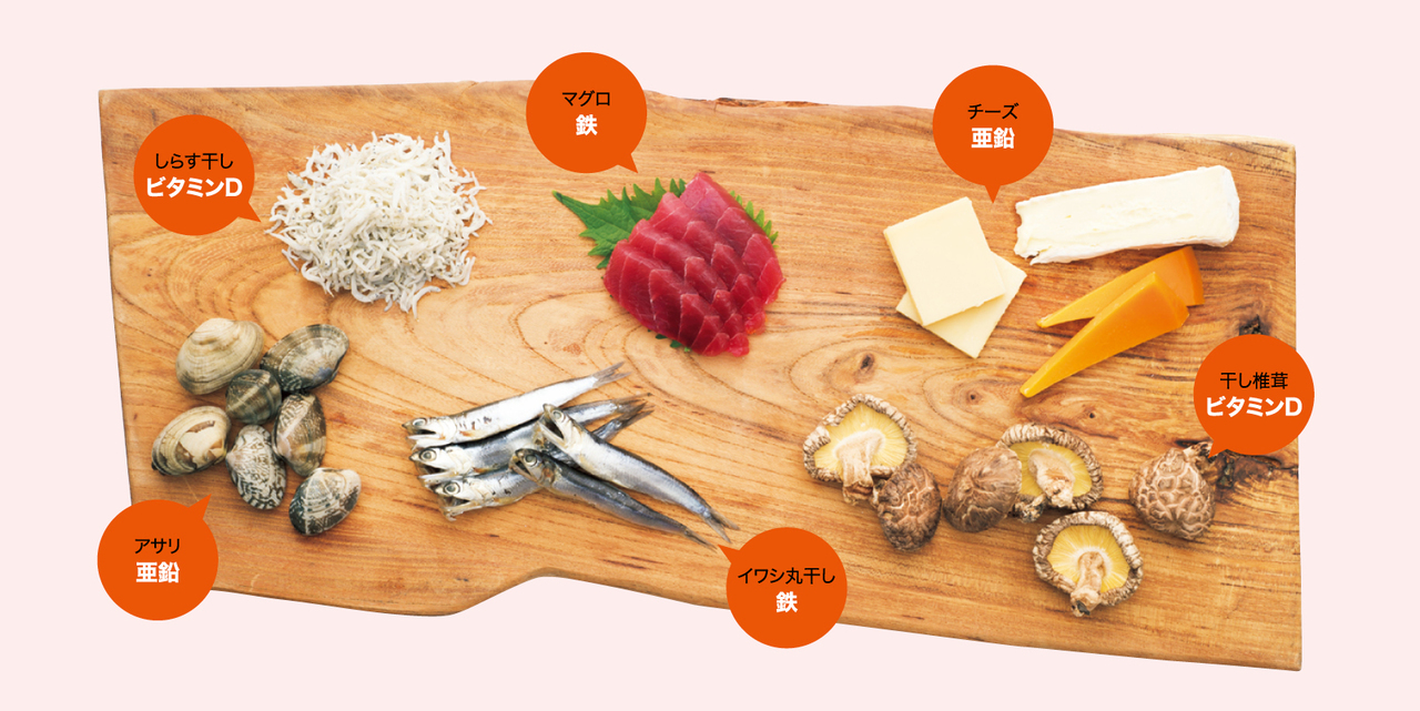 鉄・亜鉛・ビタミンDが含まれた食材
