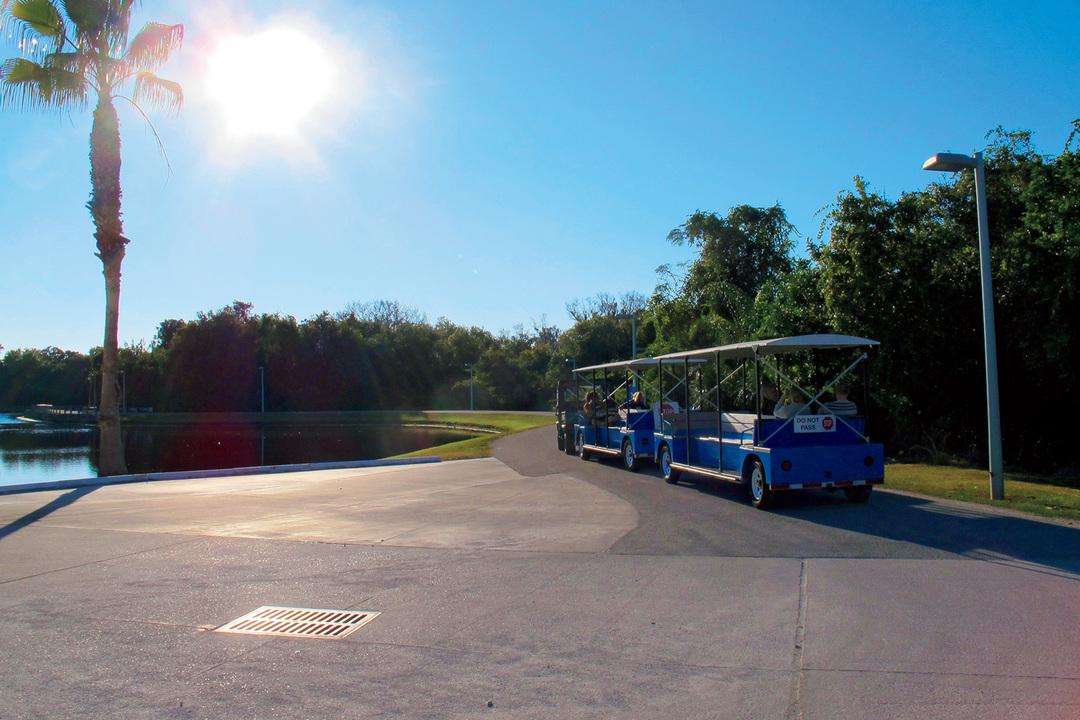 東京ドーム50個分にも及ぶ広大なIMGアカデミーの敷地内を走るトラム(電動列車)
