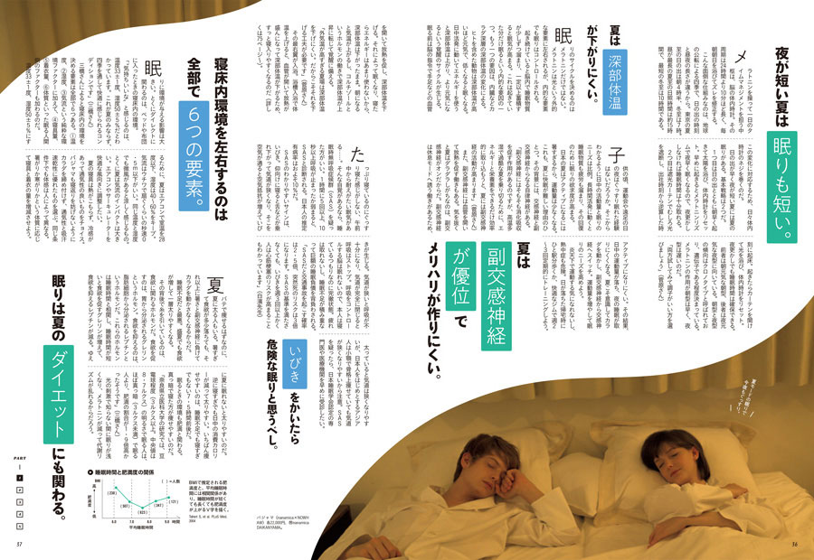 """お次は「快眠」。まずは""""夏の眠り""""の基本知識をおさらい。続くページでは、寝具、ブルーライト対策、ストレッチなど、心地よく眠るための実践テクをご案内。"""