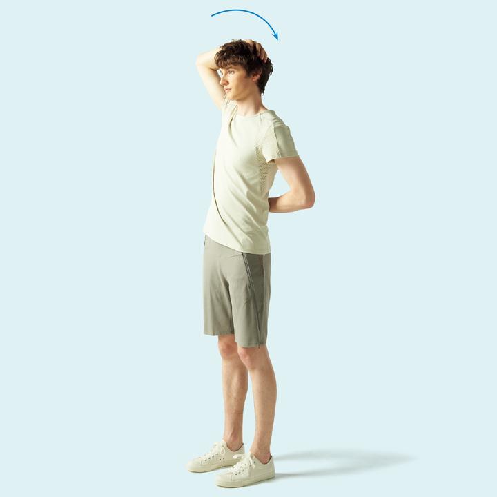 肩甲挙筋の抗重力筋ストレッチ