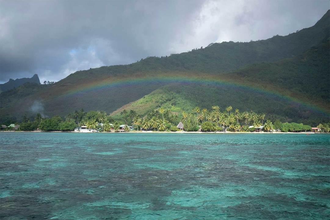 モーレア島では途中雨にも見舞われたが、しばらくすると虹が出た。完璧すぎる。