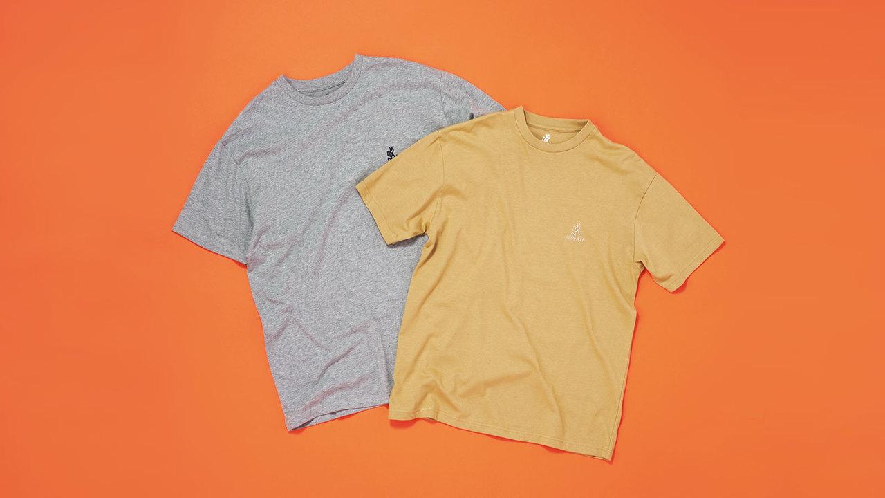 グラミチのアイコン、ランニングマンがバックに大きくプリントされたTシャツ