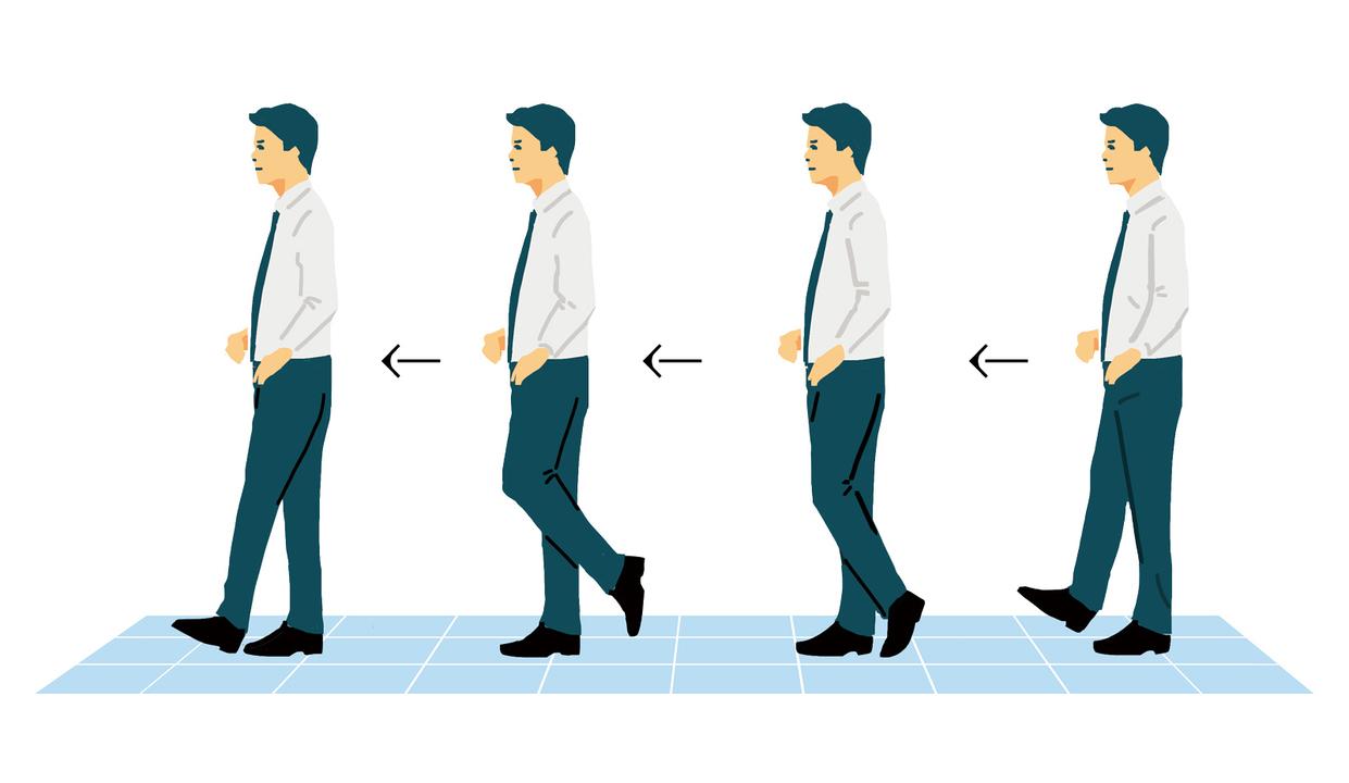廊下を歩きながらトレ